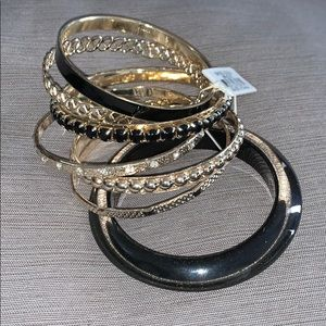Complete black, gold and crystal bangle set